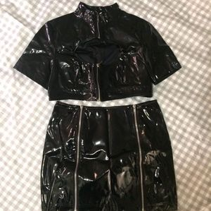 Top + Mini Skirt in PVC